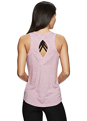 RBX Active Women's Multi Back Detail Workout Yoga Tank Top 19 Pink S (Heathered Linen)