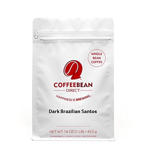 Dark Brazilian Santos, Whole Bean Coffee, 16 Ounce Bags (Pack of 3)