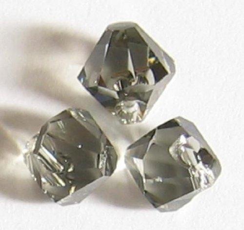 6 pcs Swarovski Crystal 6301 Top Drilled Bicone Pendant Bead Black Diamond 8mm / Findings / Crystallized Element
