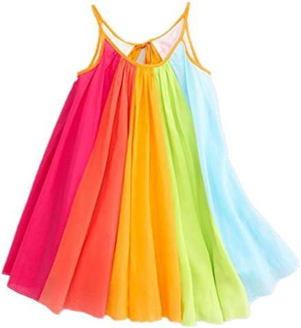 Girls Dresses,Haoricu Hot Sale Summer Girls Beach Rainbow Dress Girls Sleeveless Sling Perform Party Chiffon Tutu Dress
