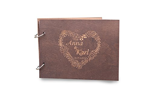 Mini Flower Heart Patter Damask Wedding Guest Book Brown, Alternative Guest Book, Party Album Book, Bridal Shower Guestbook, Birthday Note Book, Baby Shower Note Book, Memory Book Gift.
