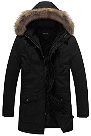 Wantdo Men's Winter Thicken Cotton Jacket with Fur Hood