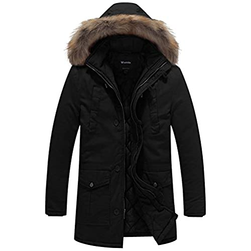 Men's Parka Fur Hood Black: Amazon.com