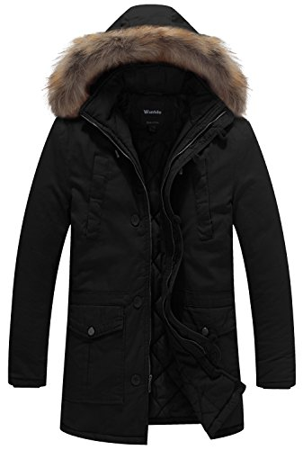 Fur Hooded Cotton Outwear Coat US X-Large Black ()