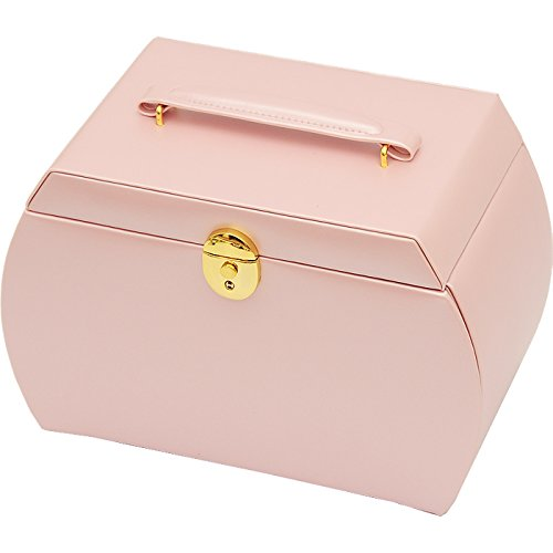 The Muse's Magic box Jewelry Box Watch Storage Organizer w/ Lock Mirror and Mini Travel Case , White by The Muse's Magic box (Image #4)