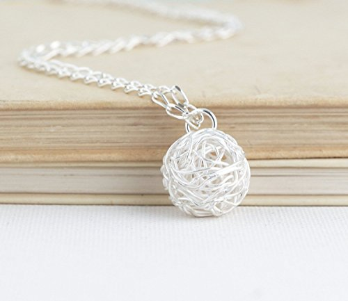 Sterling Silver Ball of Yarn Necklace - 20 Inch - Design Weave Necklace