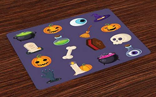 (Lunarable Halloween Place Mats Set of 4, Famous Halloween Icons Zombie Hand Pumpkins Witch Head Bones Grave Coffin Magic, Washable Fabric Placemats for Dining Room Kitchen Table Decor,)