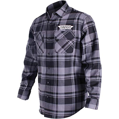Throttle Threads Drag Specialties Flannel Shirt Gray/Black Plaid (Gray, XXXX-Large)