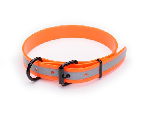 "K9 Warrior Biothane 1"" Reflective Dog Collar - Reflective Orange - 44cm (17"")"