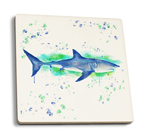 Lantern Press Great White Shark - Watercolor (Set of 4 Ceramic Coasters - Cork-Backed, Absorbent)