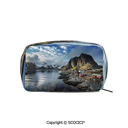 Rectangle Beauty Girl And Women Cosmetic Bags Fishing Hut Photo in Autumn with Rocks and Clouds Scenery Northern Norway Cold Printed Storage Bags for Girls Travel