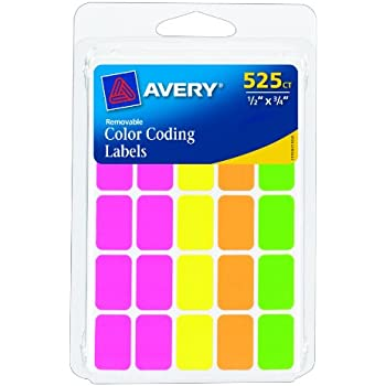 Avery Removable Color Coding Labels Rectangular Assorted Colors Pack Of 525 6721