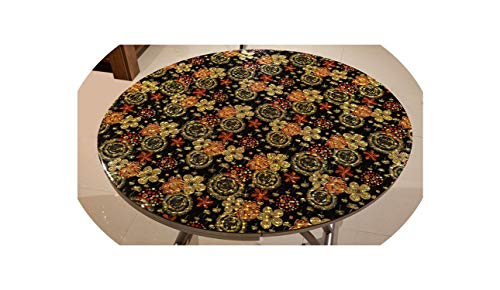 Round Colorful Printed Embossed Soft Glass Frosted Tablecloth Waterproof Plastic Table mat Party Table Decoration Table pad,B,90cm -