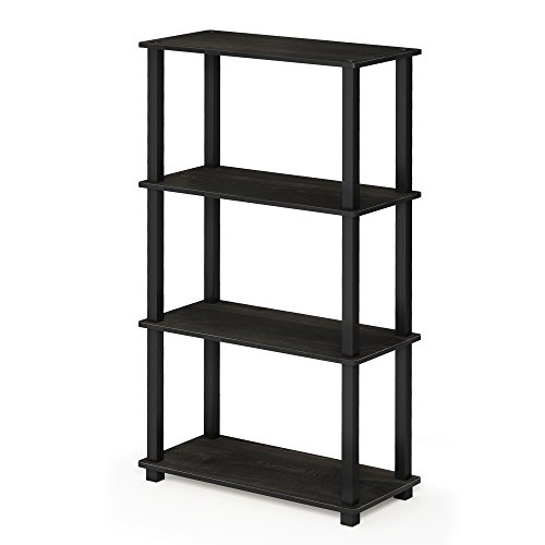 FURINNO 18028EX/BK Turn-S 4-Tier Compact Multipurpose Shelf with Square Tubes, Espresso/Black (Squares Shelf)