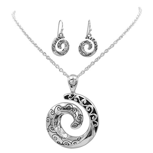 Gypsy Jewels Simple Pendant Silver Tone Boutique Style Statement Necklace & Dangle Earring Set (Open ()