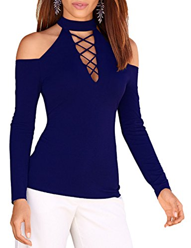 Longues Svelte Shirts Femme Chemisiers Epaule Haut Manches Top New Creux Unie Couleur Tops Col T Fashion Bleu Sexy Et Dnude Shirt 1wPAaax4