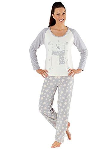 Secretos Selena larga de las mujeres paño grueso y suave pijama de grises Grey