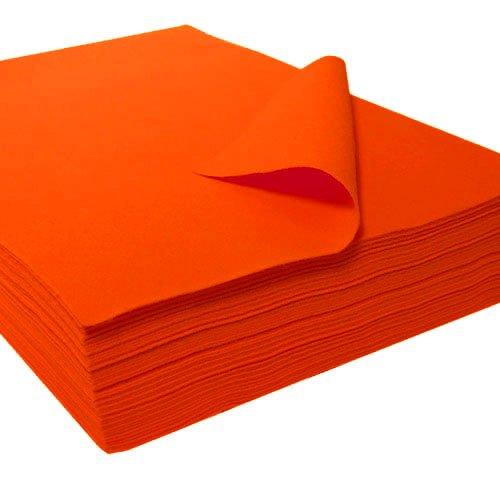 """Acrylic Felt Sheet 9"""" X 12"""": 25 PCS, Neon Orange by The Felt Store"""