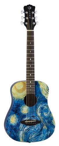 Luna SAFSTR Safari Starry Night Spruce Top Acoustic Guitar, Translucent Blue