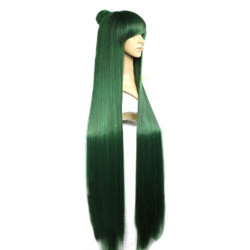 Angelaicos Womens Fiber Straight Cosplay Party Costume Wig Long Green 47 Inches