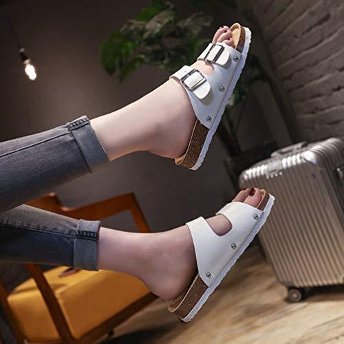 JITIAN Plage Bout Été Plates Sandales Ouvert Femmes Blanc Claquettes Tongs Chaussures Confort Mode Casual EYgrxYvw