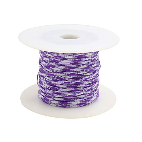 eDealMax 100M x 5MM Purple White Auto Audio Braided Polyester Cable Sleeving Harness
