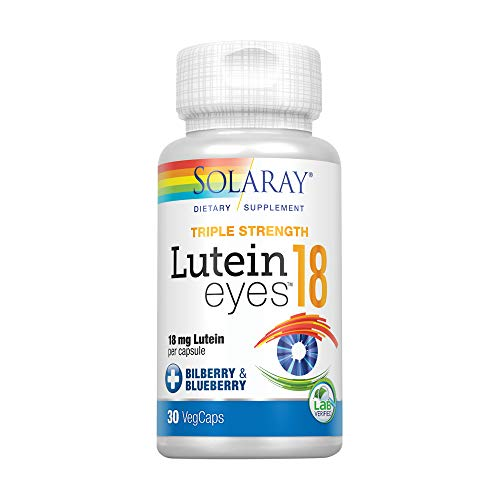 Solaray Triple Strength Lutein Eyes, 18 mg | Eye & Macular Health Support Supplement w/Naturally Occurring Lutein and Zeaxanthin | Non-GMO | 30 Count