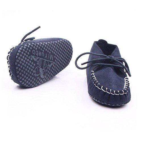 Nubuck Suave Zapatos De Cuero Primeros Pasos De Bucle Cordón Para Bebé Niños Lindo Antideslizante - Plata, 11 Azul