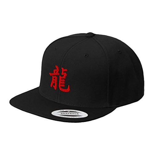 (Chinese Symbol for Dragon Red Embroidered Flat Visor Snapback Hat Black)