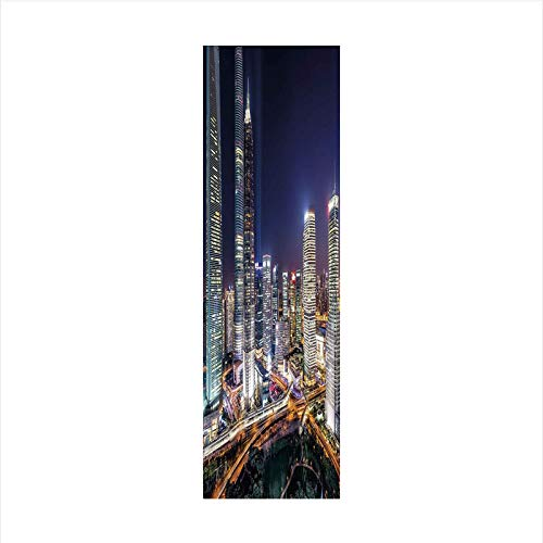 (Decorative Window Film,No Glue Frosted Privacy Film,Stained Glass Door Film,Skyline Illuminated Skyscrapers in Modern City at Night Architectural Cityscape Photo,for Home & Office,23.6In. by 59In Mult)