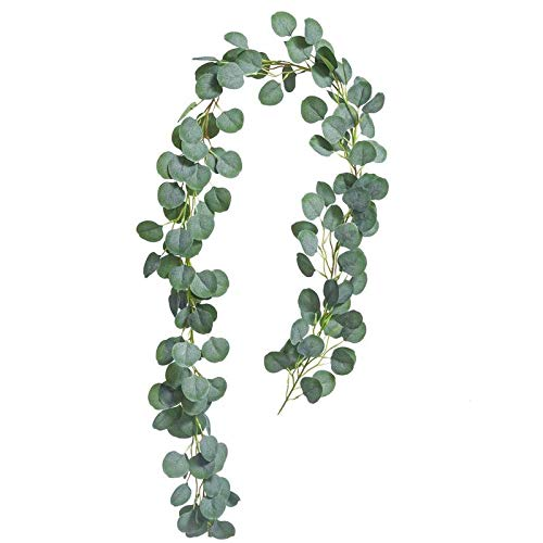 Satori Store Silver Dollar Eucalyptus Garland - Vine of Fake Leaves - Make an Artificial Wreath for Decorations, Doorway Hanger, Holidays, Weddings or Christmas Decor - Faux Leaf Greenery (Best Artificial Christmas Garland)