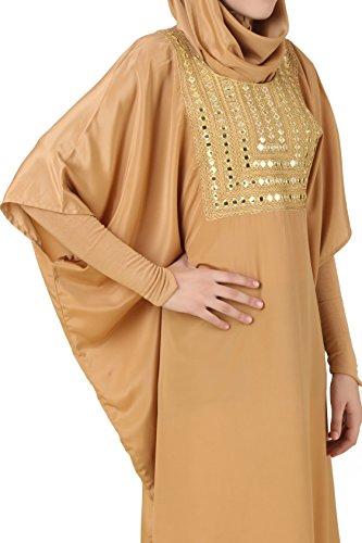 MyBatua Zareenah Beige Crepe Kaftan musulmán larga Abaya KF-030
