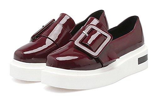 Aisun Damen Lack Metall Flach Schuhe Sneaker Rot