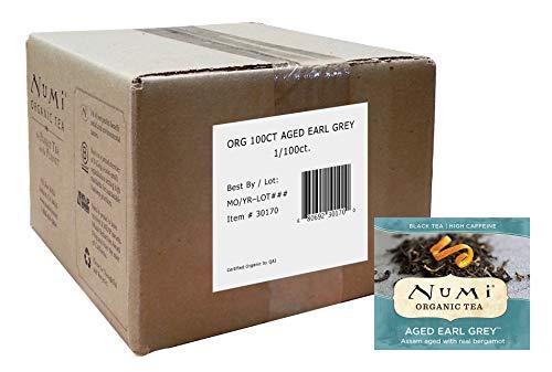 Numi Organic Tea Aged Earl Grey Black Tea, 100 Count Box of Tea Bags, Bulk Organic Black Tea Naturally Aged with Italian Bergamot to Absorb the Flavor, Non-GMO Biodegradable Bags (Packaging May Vary)