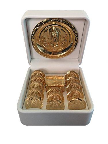 La Virgen de Guadalupe Arras de Matrimonio - Wedding Arras of Our Lady Of Guadalupe - Hand Made wedding coins. Arras de Boda or Matrimonio Catholic Unity Coins with a Miniature Chest Box