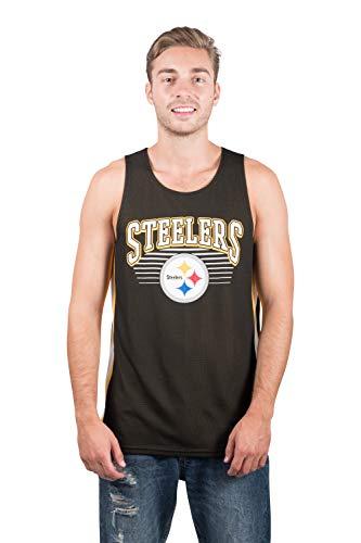 NFL Pittsburgh Steelers Men's Jersey Tank Top Sleeveless Mesh Tee Shirt, X-Large, Black