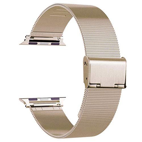 OROBAY Compatible with Apple Watch Band 38mm 40mm, Stainless Steel Milanese Loop Band Compatible with Apple Watch Series 4 Series 3 Series 2 Series 1, Retro Gold ()