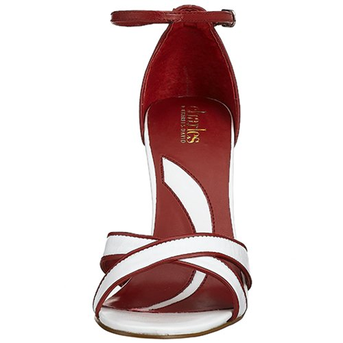 Charles Di Charles David Womens Picture Sandal, Bianco / Rosso Bianco / Rosso