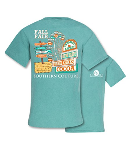 Southern Couture SC Comfort Fall Fair Ferris Wheel Haybales Womens Classic Fit T-Shirt - Seafoam, Medium (Couture Cocoa)
