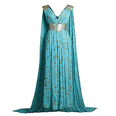 CosFantasy Daenerys Targaryen Cosplay Costume Blue Qarth Dress with Belt mp004185