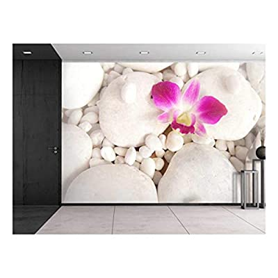Fascinating Picture, Pink Orchid Over White Rocks Wall Mural, Classic Design