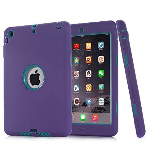 iPad Mini Case,iPad Mini 2 Case,iPad Mini 3 Case,UZER Heavy Duty Shockproof Anti-slip Silicone High Impact Resistant Hybrid Three Layer hard PC+Silicone Armor Protective Case Cover for iPad Mini 1 2 3