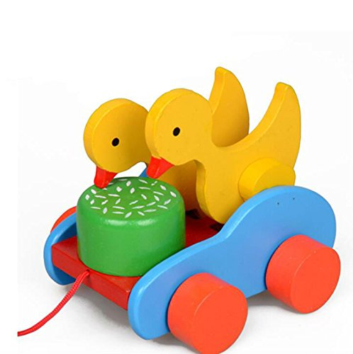 (Kids Toys Cartoon Snails Pull Along Toddler Toys Wooden Educational Toys (Green))