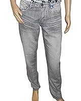 Versace Men's Regular Fit Denim Cotton Grey Jeans