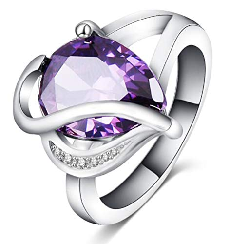 Sparkling Square Purple Amethyst Wedding Ring gold Rhodium Plated Party Size 8