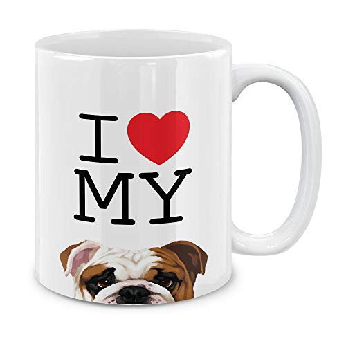 MUGBREW I Love My English Bulldog Ceramic Coffee Gift Mug Tea Cup, 11 OZ ()