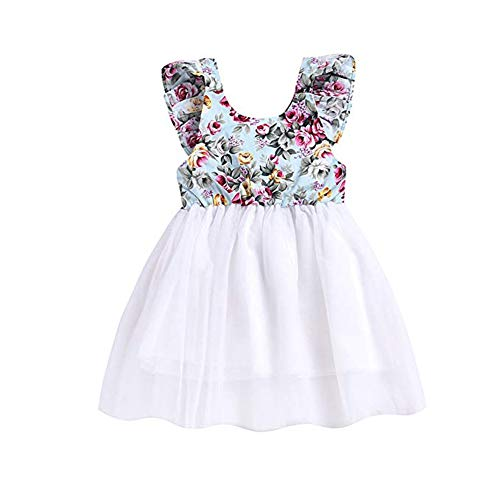 KONIGHT Kids Toddler Baby Girl Ruffles Tulle Tutu Princess Dress Backless Sleeveless Sundress Clothes Outfit (Infant Girls Sundress)