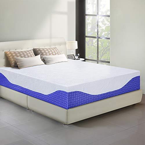 PrimaSleep 12 Inch Multi-Layered I-Gel Infused Memory Foam Mattress/Cobalt Blue/King (Best Gel Infused Memory Foam Mattress)