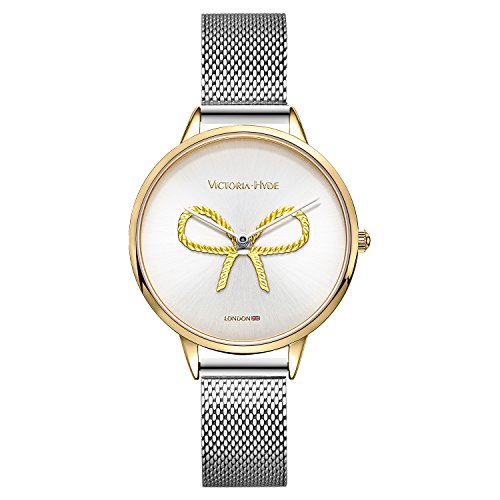 VICTORIA HYDE Women's Quartz Watch with Vintage Butterfly Knot Stainless Steel Bracelets Mesh Band for Ladies Waterproof (Sliver)