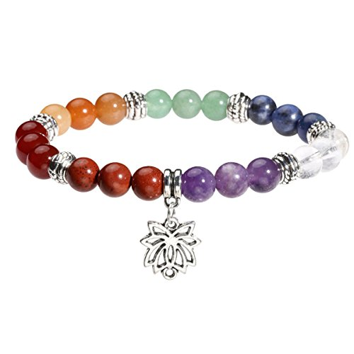 Eigso 7 Chakra Womens Reiki Healing Meditation Crystal Stone Stretch Bracelet with Lotus Symbol ()